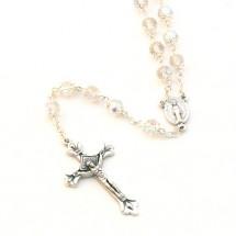 1c8e1ed7563 Chapelet perle verre blanc avec corole